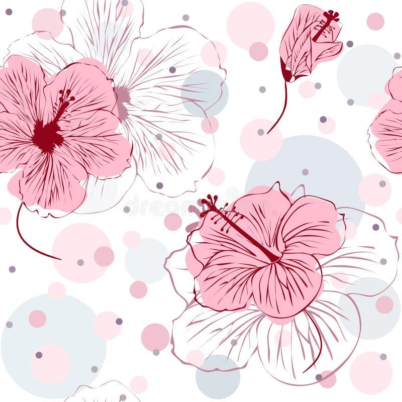 Sömlös modell med hand drog hibiskusblommor royaltyfri illustrationer