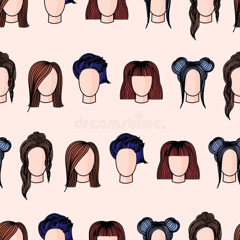 Sömlös modell med hand drog kvinnors frisyrer stock illustrationer