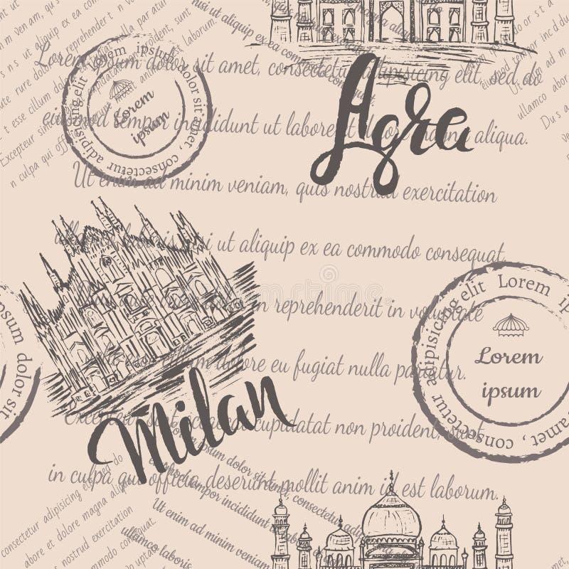 Sömlös modell med hand drog Milan Cathedral som märker Milan, handen som dras Taj Mahal och att märka Agra och bleknad text stock illustrationer