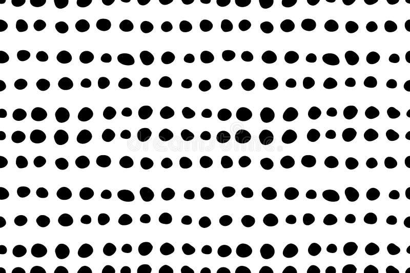 Sömlös modell med hand drog små svartprickar för klotter stock illustrationer