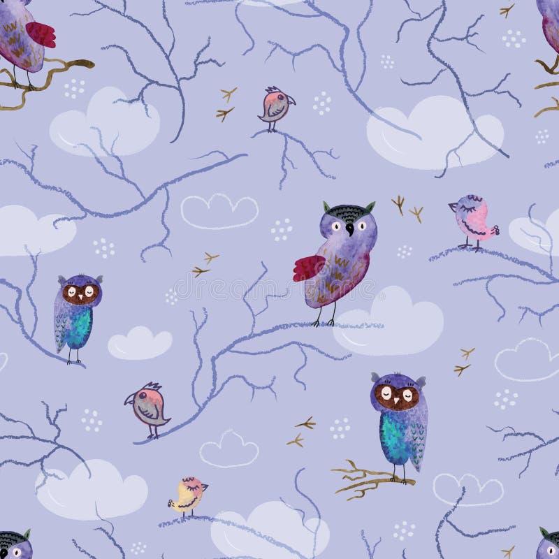 Sömlös modell med hand-drog ugglor och fåglar på violett bakgrund vektor illustrationer