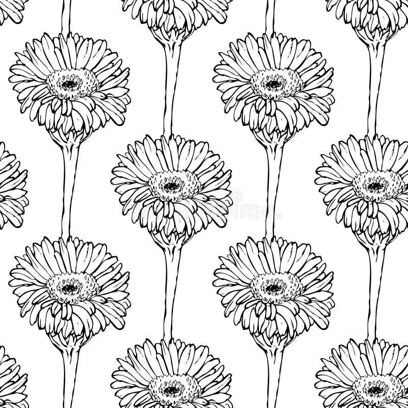 Sömlös modell med handen som drar svartvita blommor stock illustrationer