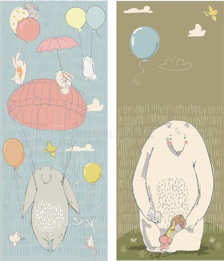 Sömlös modell med hare och björnen vektor illustrationer