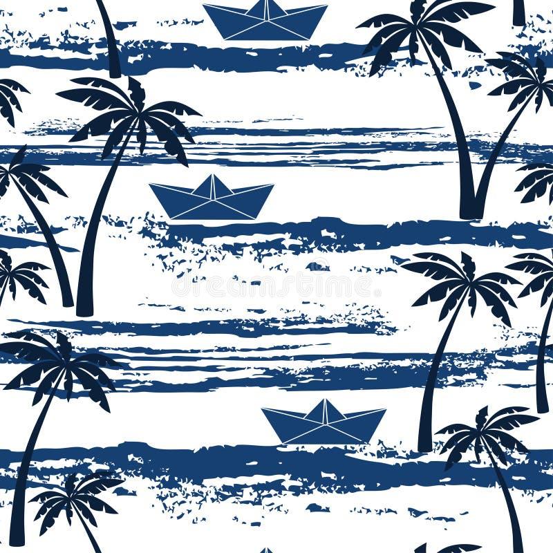Sömlös modell med havet, palmträd och pappersfartyg Sommar b stock illustrationer