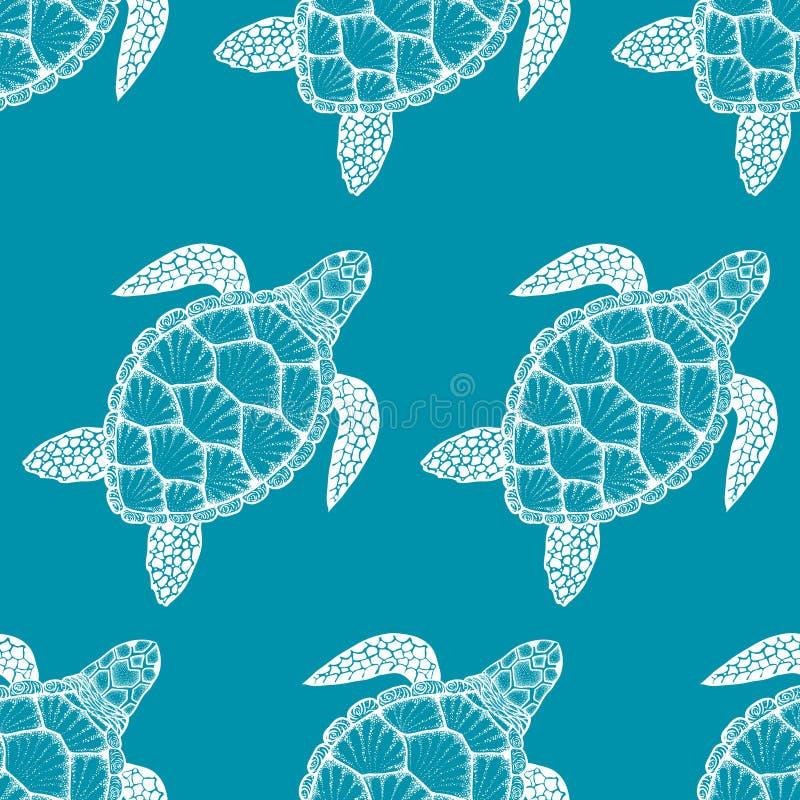 Sömlös modell med havssköldpaddan i linjen konststil Hand tecknad vektorillustration Havbeståndsdelar royaltyfri illustrationer