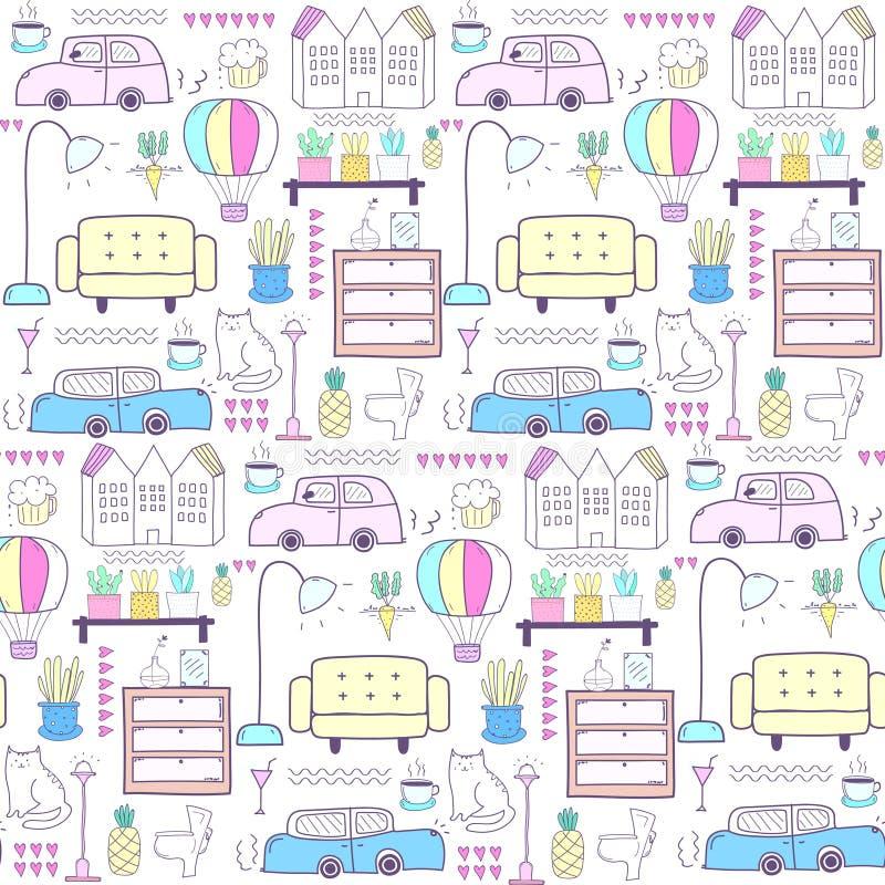 Sömlös modell med hem- möblemangbakgrund stock illustrationer