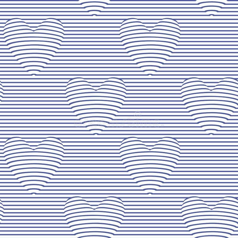 Sömlös modell med hjärtor för optisk illusion vektor illustrationer
