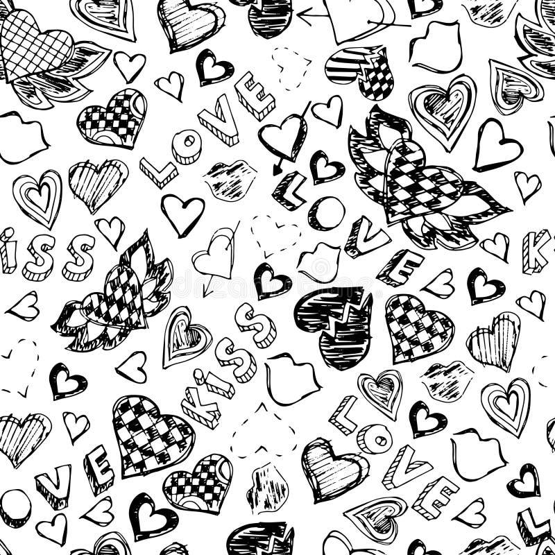 Sömlös modell med hjärtor, kanter, förälskelse och kyssar tecknad hand vektor illustrationer
