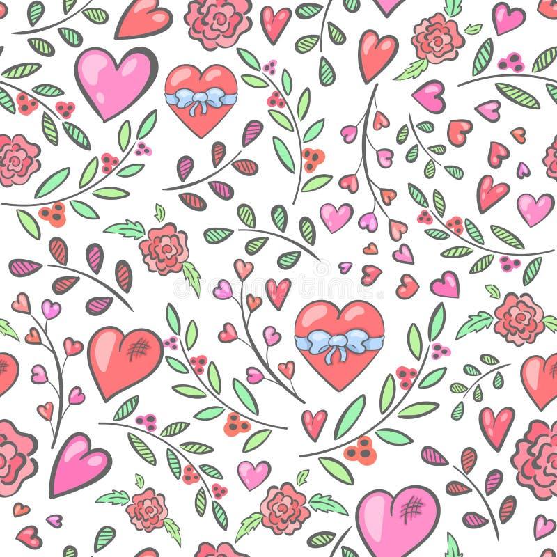 Sömlös modell med hjärtor och blommor och filialer stock illustrationer