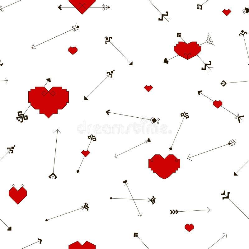 Sömlös modell med hjärtor och pilar royaltyfri illustrationer
