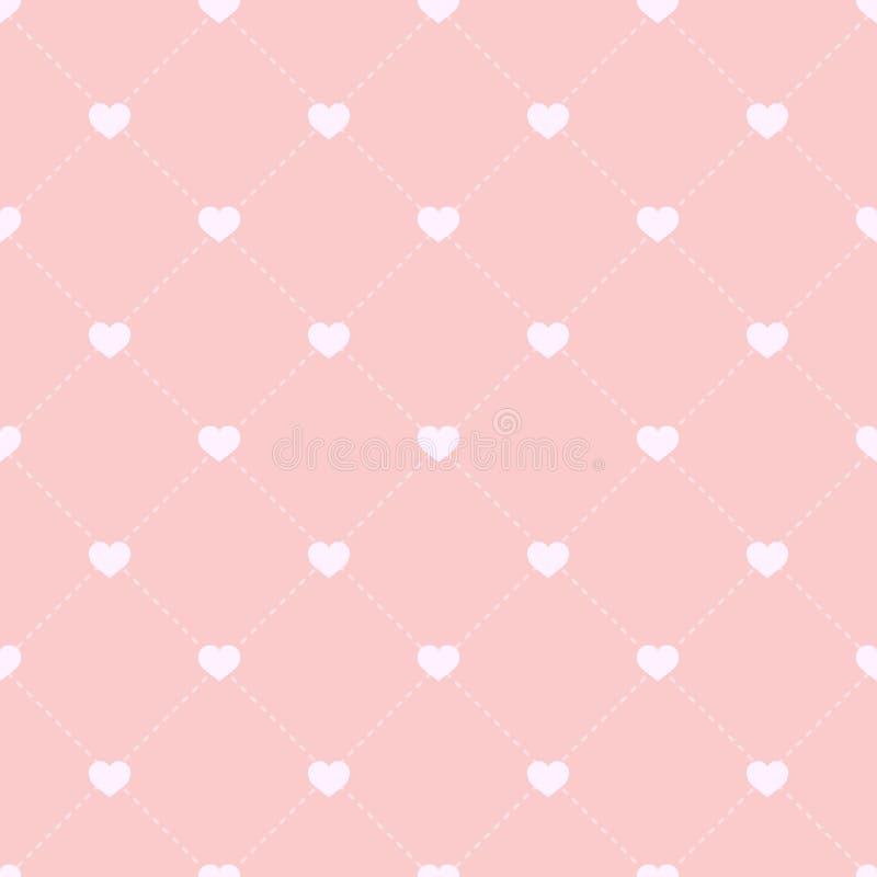 Sömlös modell med hjärtor och prickiga band Bakgrund för dag för valentin` s Rosa bakgrund med hjärtor royaltyfri illustrationer