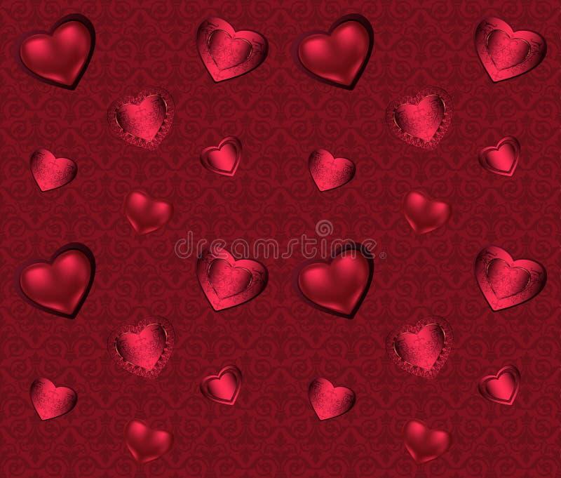 Sömlös modell med hjärtor och prydnad på en rosa och röd bakgrund med blommaromantikervalentin vektor illustrationer