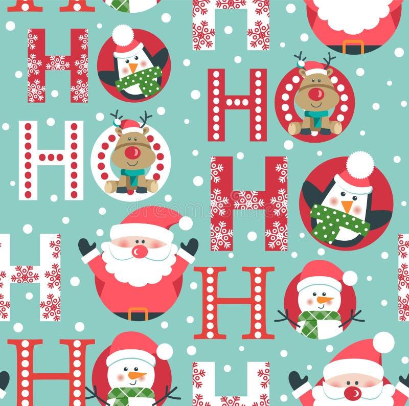 Sömlös modell med hjortar, snögubbepingvinet och jultomten huvud ho ho ho, royaltyfri illustrationer