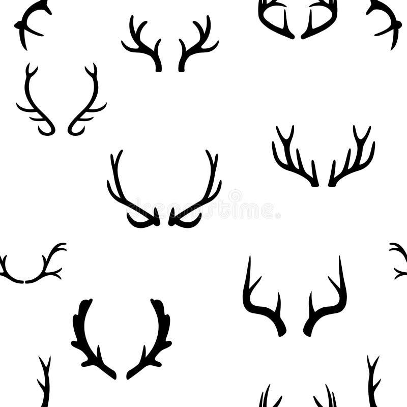 Sömlös modell med hjorthorn på kronhjort för illustrationsköld för 10 eps vektor royaltyfri illustrationer