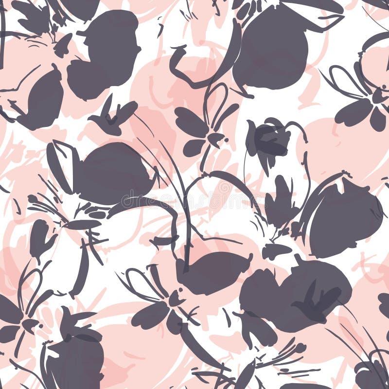Sömlös modell med i lager mjuka blommor i grå färger och rosa färger med en vit bakgrund vektor illustrationer
