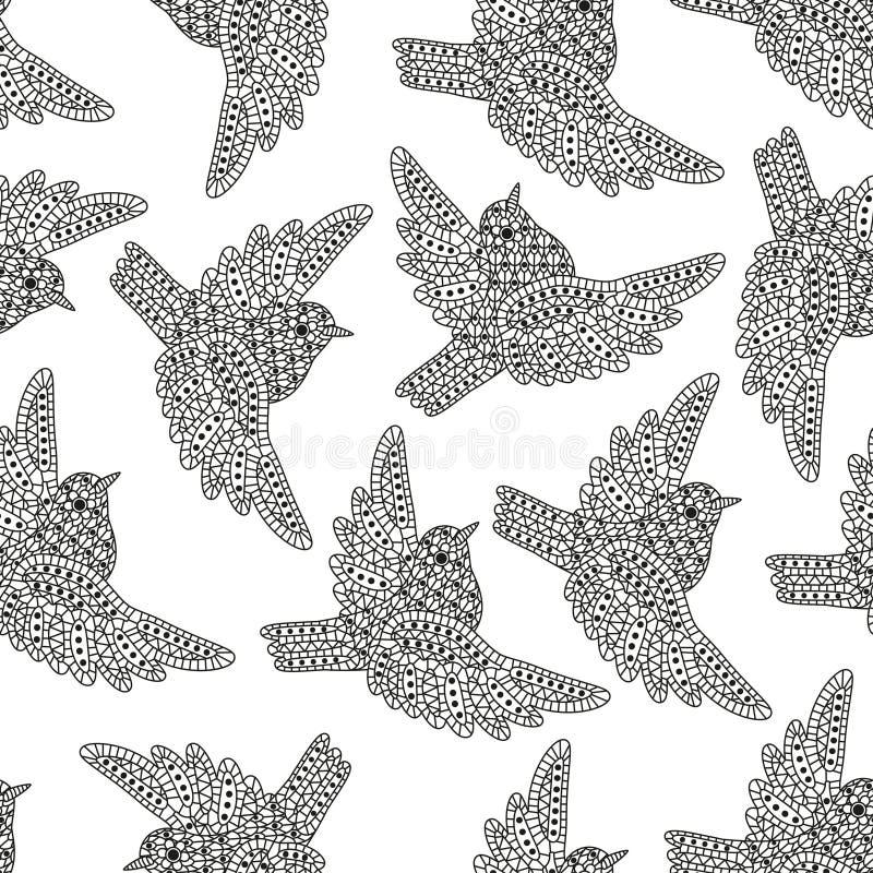 Sömlös modell med idérika fåglar Dekorativa sparvar Goda för inpackning, färgläggningböcker, kort, etc. Svartvita färger royaltyfri illustrationer