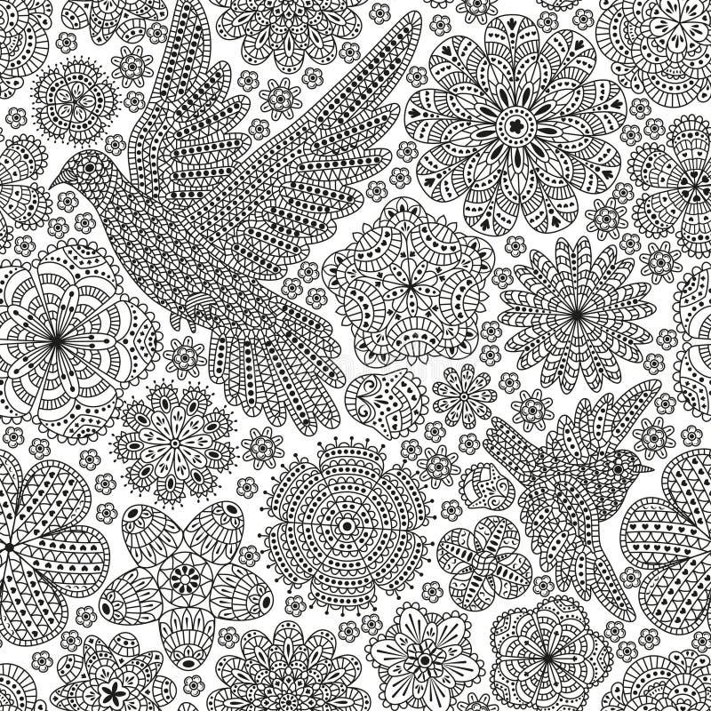 Sömlös modell med idérika fåglar och blommor Dekorativ duva och sparv vektor illustrationer