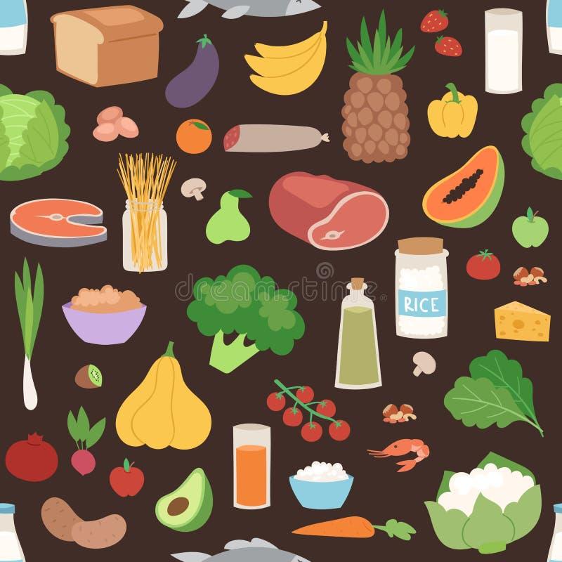 Sömlös modell med illustrationen för vektor för kulör sund vegetarisk matstrikt vegetarian för grönsaker den nya organiska royaltyfri illustrationer