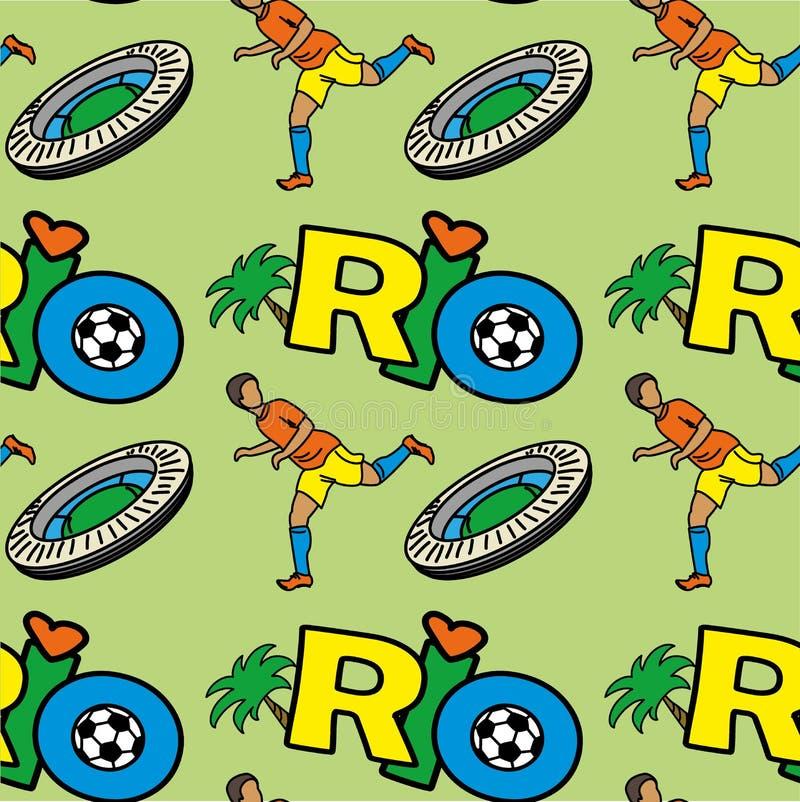 Sömlös modell med inskriftRIO DE JANEIRO, fotbollsspelarestadion royaltyfri illustrationer