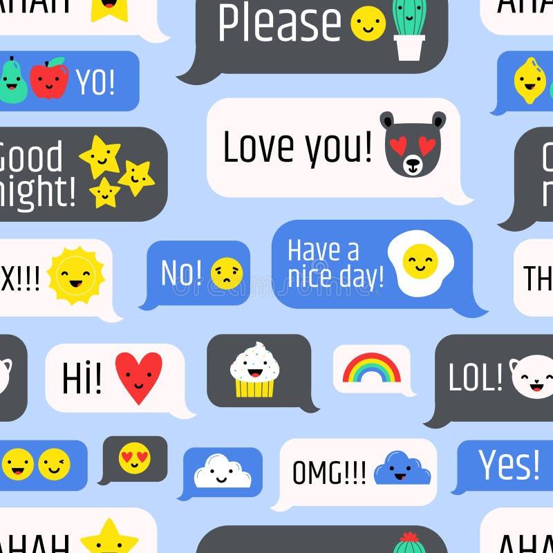 Sömlös modell med internetmeddelanden, online-kommunikation eller symboler för ögonblicklig messaging på blå bakgrund kulört royaltyfri illustrationer