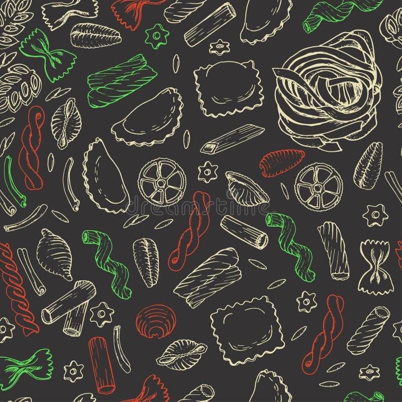 Sömlös modell med italiensk pasta på mörk bakgrund stock illustrationer