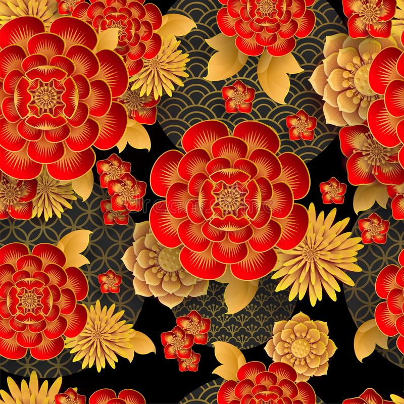 Sömlös modell med japan-, kines- och asiatbeståndsdelar vektor illustrationer
