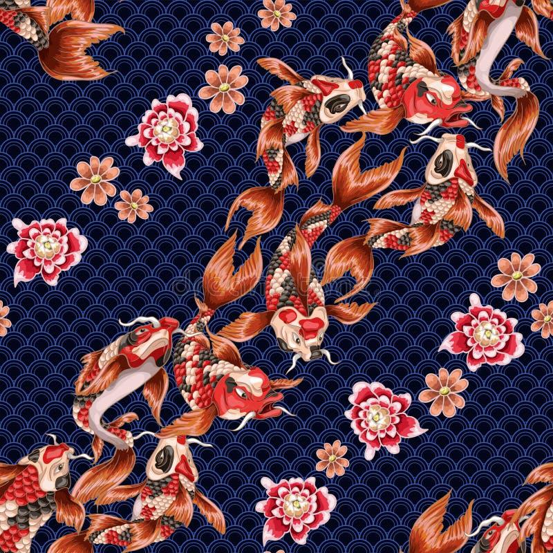 Sömlös modell med japansk karpkoi och våg på geometrycal bakgrund stock illustrationer