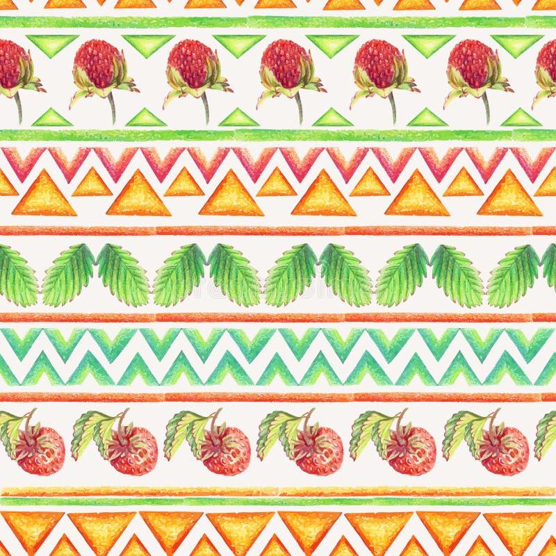 Sömlös modell med jordgubbar och den stam- prydnaden royaltyfri illustrationer