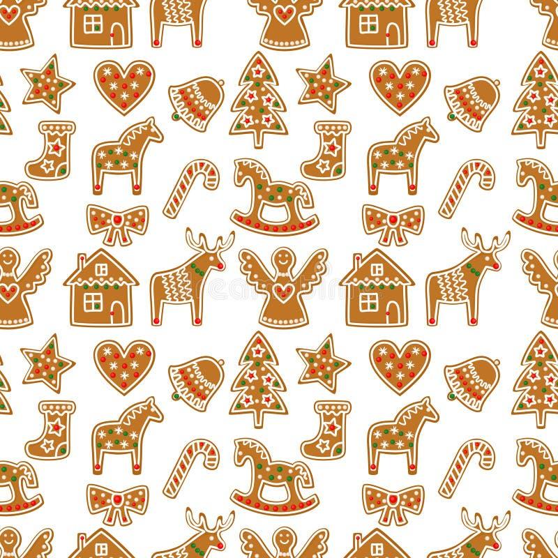 Sömlös modell med julpepparkakakakor - xmas-träd, godisrotting, ängel, klocka, socka, pepparkakamän, stjärna, hjärta, hjort stock illustrationer