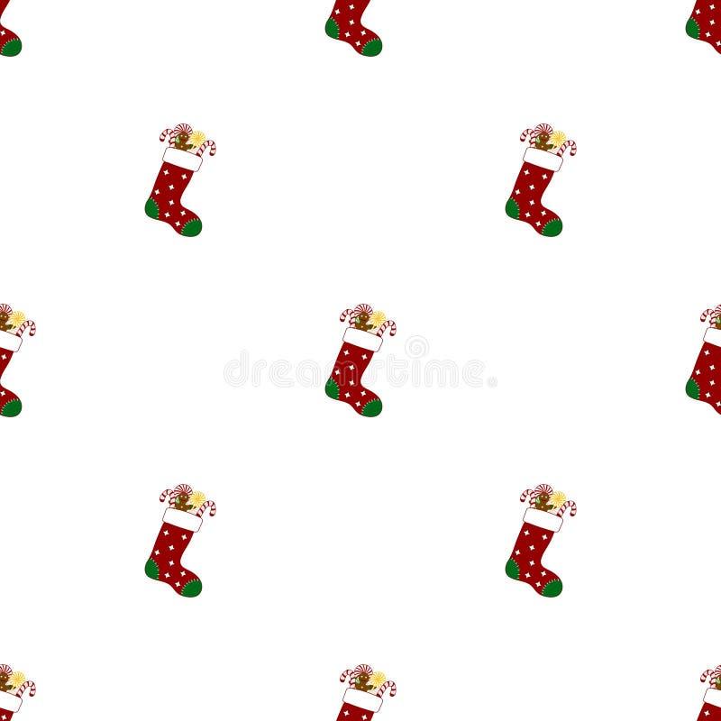 Sömlös modell med julsockor på vit bakgrund Pepparkakaman och godisar R?d gr?n socka ocks? vektor f?r coreldrawillustration vektor illustrationer