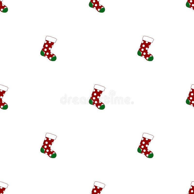 Sömlös modell med julsockor på vit bakgrund R?d gr?n socka ocks? vektor f?r coreldrawillustration vektor illustrationer