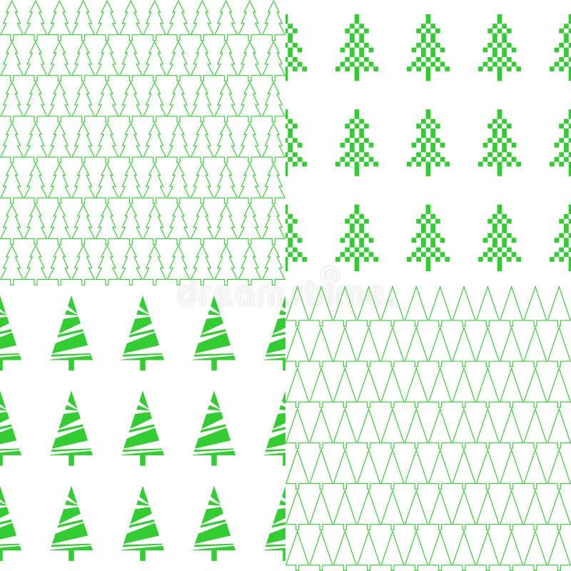 Sömlös modell med julträdet En uppsättning av åtta modeller vektor royaltyfri illustrationer