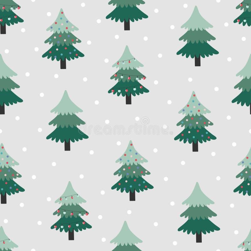 Sömlös modell med julträdet på grå bakgrund royaltyfri illustrationer