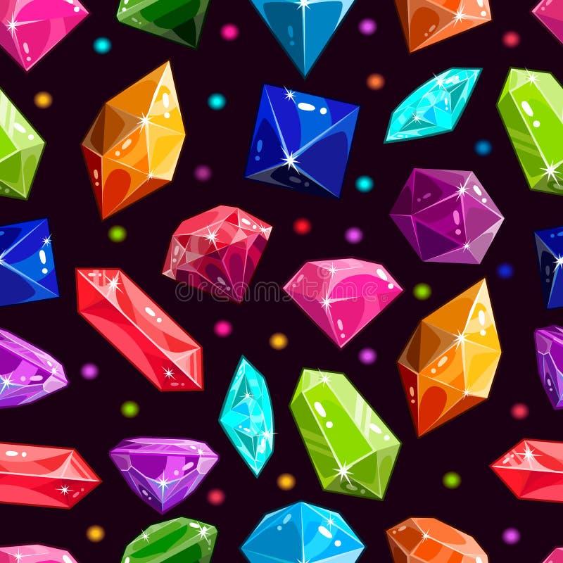 Sömlös modell med juvlar och diamanter royaltyfri illustrationer