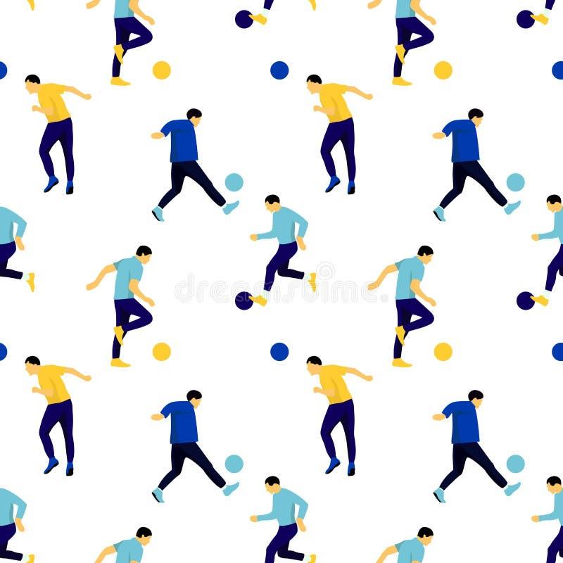 Sömlös modell med körande spela för män som är footbal sparka bollen Ljus tecknad filmkontur på den vita bakgrunden vektor illustrationer