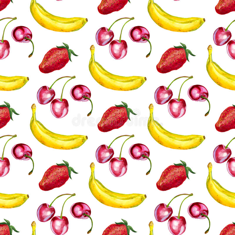 Sömlös modell med körsbär, bananer och jordgubbar royaltyfri illustrationer