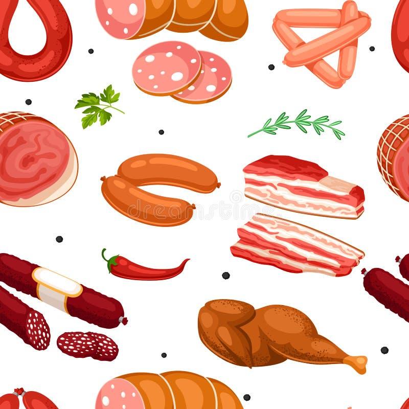 Sömlös modell med köttprodukter Illustration av korvar, bacon och skinka stock illustrationer