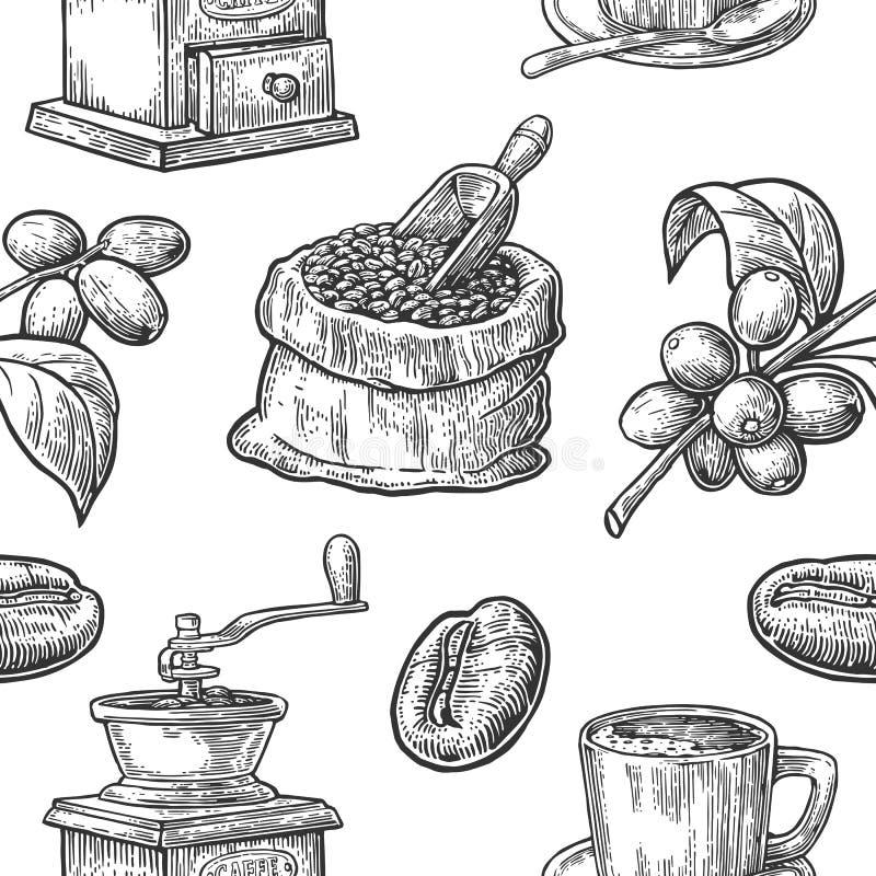 Sömlös modell med kaffe, bönan och filialen royaltyfri illustrationer