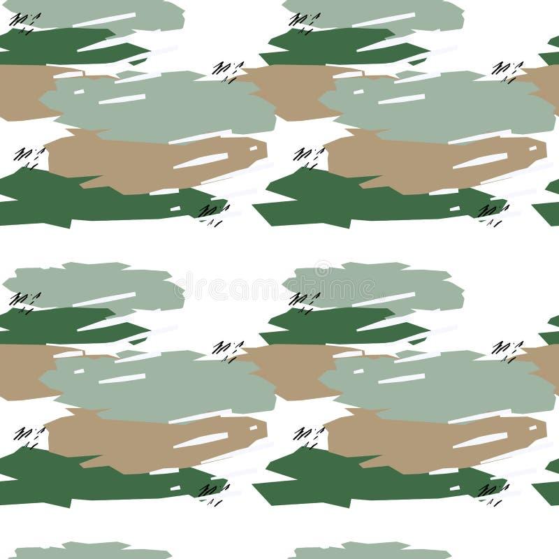 Sömlös modell med kaki- textur i gröna och beigea färger på vit bakgrund royaltyfri illustrationer