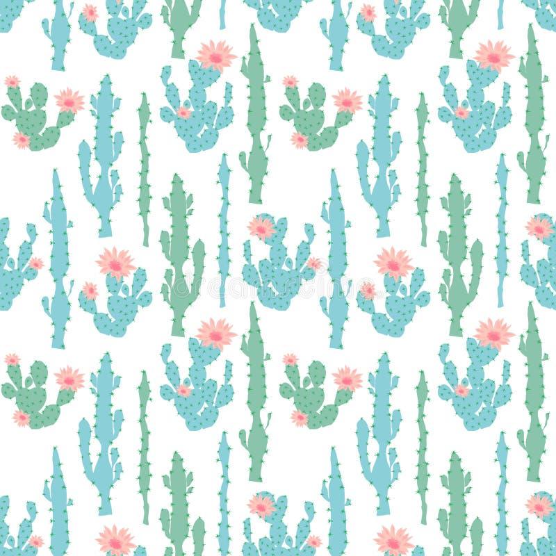Sömlös modell med kaktuns vektor illustrationer