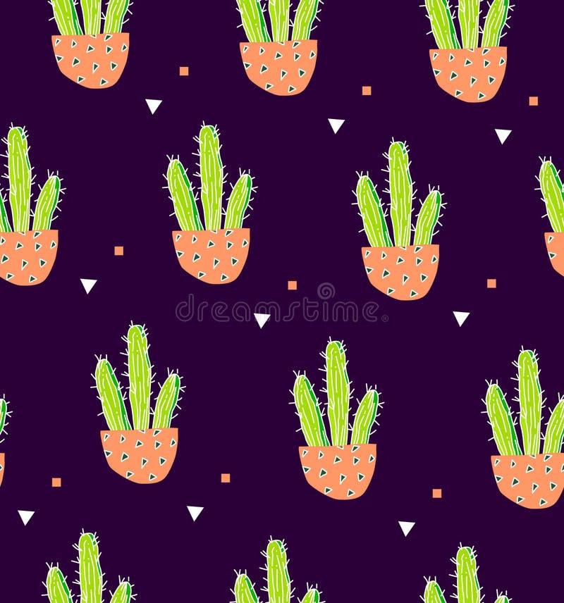 Sömlös modell med kaktuns i en blomkruka och geometrisk form på svart bakgrund Suckulent i klotterstil Prydnad för texti royaltyfri illustrationer