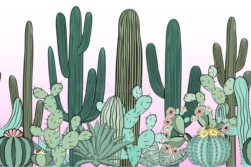 Sömlös modell med kaktuns Lös kaktusskog vektor illustrationer