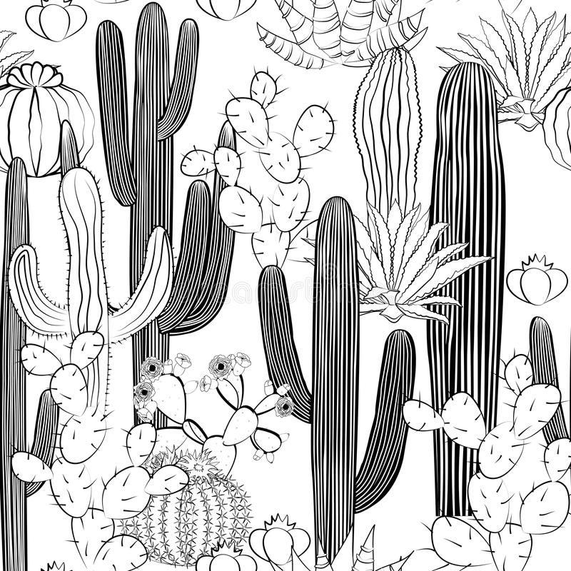 Sömlös modell med kaktuns Lös kaktusskog royaltyfri illustrationer