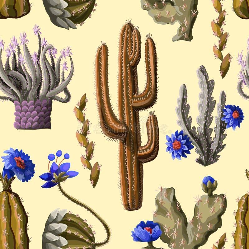 Sömlös modell med kaktuns och blommor på gul bakgrund också vektor för coreldrawillustration vektor illustrationer