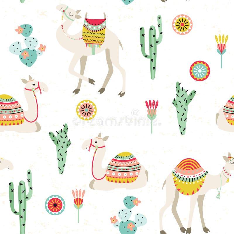 Sömlös modell med kamel och kakturs stock illustrationer