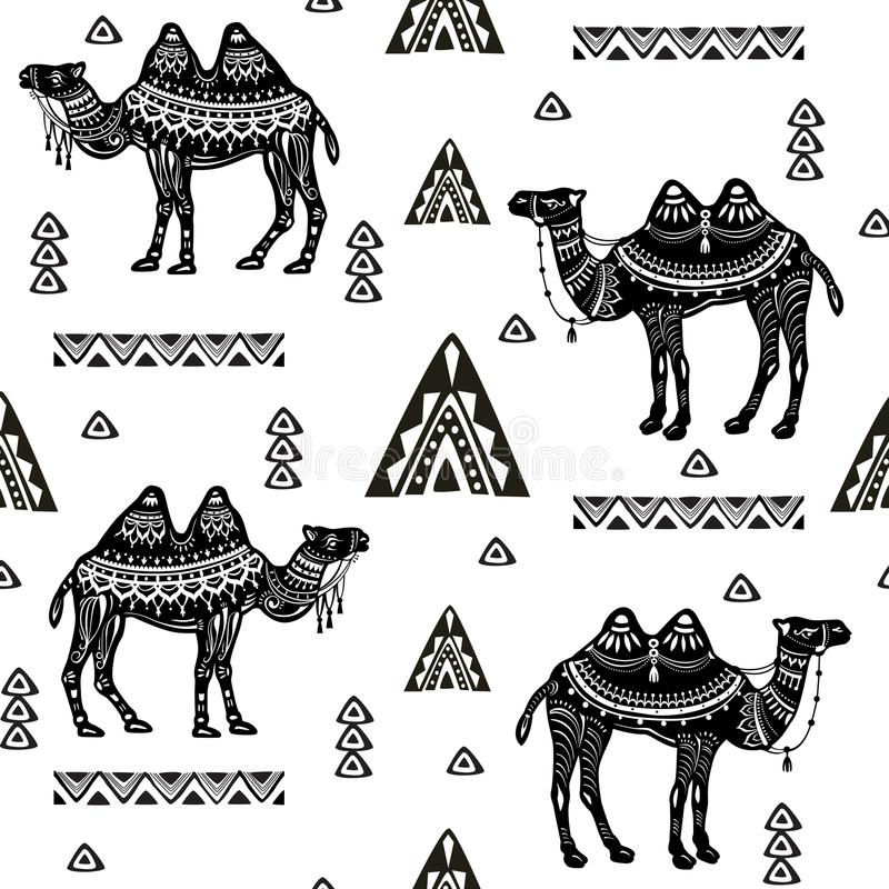 Sömlös modell med kamel och person som tillhör en etnisk minoritetmotiv vektor illustrationer