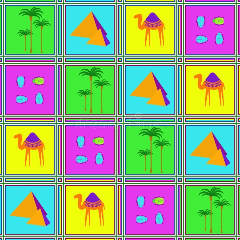 Sömlös modell med kamel, skalbaggar och palmträd royaltyfri illustrationer
