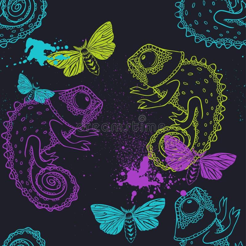 Sömlös modell med kameleonten och fjärilar vektor illustrationer