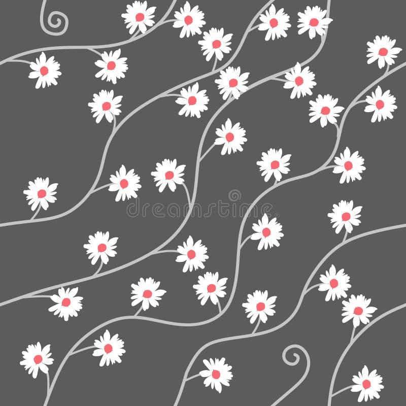 Sömlös modell med kamomillblommor på grå bakgrund i vektor Tryck för tyg stock illustrationer
