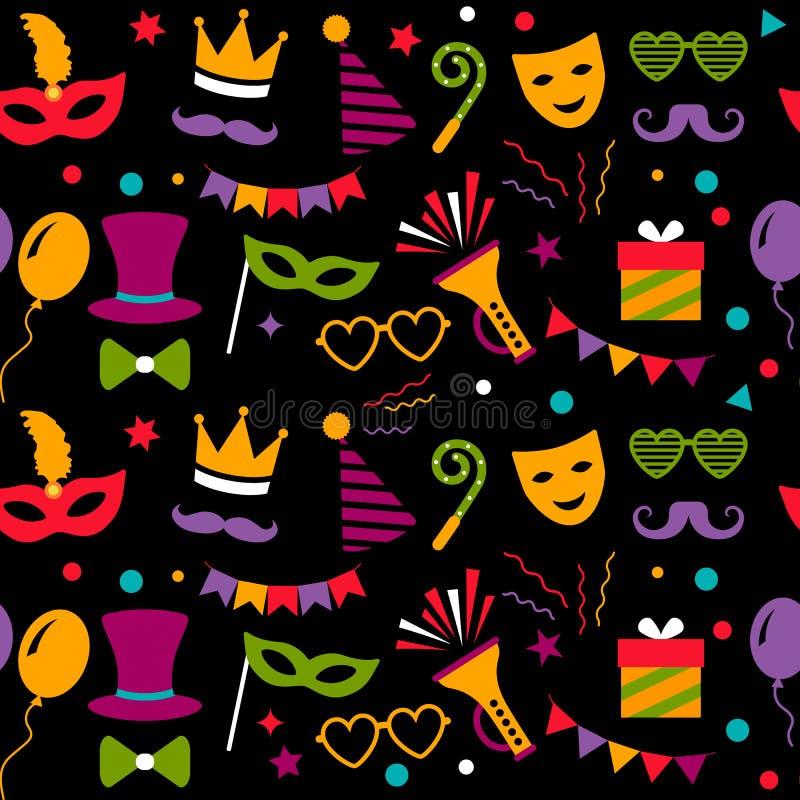 Sömlös modell med karneval- eller festivalsymboler Karneval, fotografiskt papper och födelsedagparti Plan vektorillustration stock illustrationer
